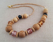 Chunky wooden and glass bead necklace - neutral colours - 100794