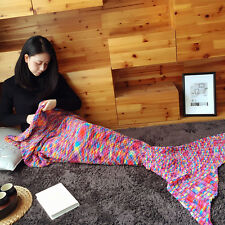 Colorful Spots Mermaid Blanket Tail Handmade Crocheted Blankets Sleeping Bag