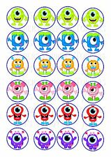 24 LITTLE MONSTER MONSTERS  WAFER RICE PAPER EDIBLE FAIRY/CUPCAKE TOPPERS