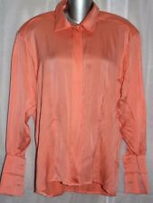 $660 ESCADA Bergdorf Goodman Orange 100% Silk Fr Cuff Blouse Shirt 34 / 4 NWT