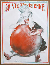 HEROUARD 1925 Vintage La Vie Parisienne Print MEDIEVAL CLOGS GIRL GIANT APPLE