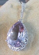 Sterling Silver Large Purple Lilac Amethyst Pendant Chain Necklace New In Box