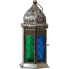 Blue Green Glass Moroccan Lantern Candle Style Holder Metal Hanging Decor Party