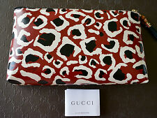 NEW GUCCI WOMENS CHEETAH G BAMBOO ZIP COSMETIC CLUTCH BAG MAKEUP POUCH