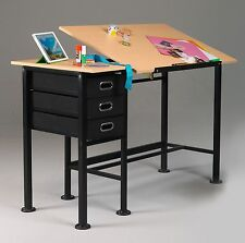 Black SPLIT TOP Table & Desk w/ 3 Drawer Taboret | Drawing / Art / Hobby / Craft
