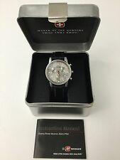 New Wenger Mens 7470 Commando Chrono Swiss Made Watch Black Leather Band NIB