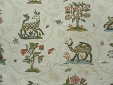 Schumacher Curtain Fabric LA MENAGERIE 0.95m Cream - 100% Linen Design 95cm