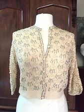 Vintage Saks Fifth Ave Crochet Cashmere Cream Beaded Sweater Cardigan 50's