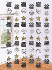 6 HOLLYWOOD MOVIE CAMERA STARS HANGING STRINGS Oscars Party Decorations 671601