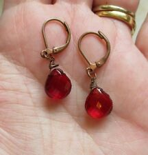 #VINTAGE #Earrings Crystal RED Teardrop Lever Back Pierced Small Dangle Faceted