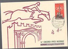 CARTOLINA CIRCOLO RIMINI 1959 CONCORSO IPPICO NAZIONALE RARO ANNULLO SPECIALE