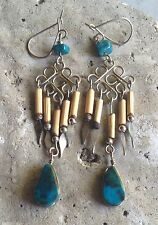 Genuine Turquoise Stone & Bamboo ROCK CANDY Earrings