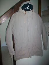 LL Bean HOODED khaki COAT WOOL PLAID CHECK LINING MEN'S MEDIUM REGULAR  WARM!