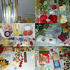 Craft Lot VTG Buttons Ribbon Wood Spools Sewing needles Roses Trims Gold Foil