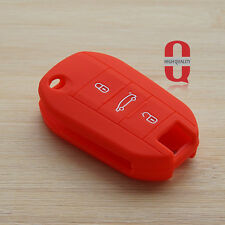 Red car key fob cover case for Peugeot 3008 308 RCZ 508 408 2008 407 307 4008