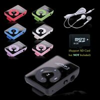 Mini Mirror Clip USB MP3 Music Media Player Support 8GB Micro SD TF + Headphone
