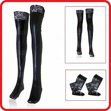 BLACK LACE LATEX /RUBBER METALLIC WET LOOK ZENTAI LONG STOCKINGS TIGHTS