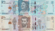 Colombia 2 Note Set 2000 and 5000 Pesos (19.8.2015) pNew UNC