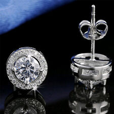 New Round Crystal Ear Stud CZ Cubic Zircon 925 Silver Plated Wedding Earrings