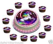 Cake topper + 12 cupcakes edible icing Unicorn horse birthday REAL FONDANT