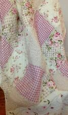 Shabby Chic French Country Throw Quilt Rug Blanket Pink Off White +Cushion Cover