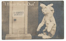 1918 RPPC Postcard of a Cat with a Tooth Ache visiting the Dentist