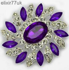 NEW LARGE SILVER FLOWER BROOCH PURPLE DIAMANTE RHINESTONE CRYSTAL BROACH GIFT UK