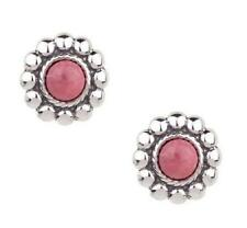 SOUTHWESTERN STERLING FLORAL DESIGN RHODONITE STUD PIERCED EARRINGS QVC SOLD OUT
