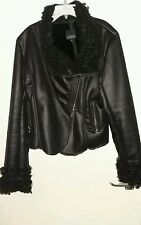 BLACK FAUX LEATHER JACKET  FUR LINED COLLAR CUFFS SOBOHO XL 14-16 BNWOT