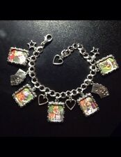 Silver Plated Charm Bracelet With Charms Alice In Wonderland Book Retro