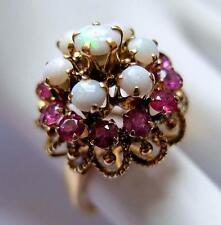 Ladies Vintage Solid 14K Yellow Gold Opal & Ruby Cluster Ring 6.7gms Size 6