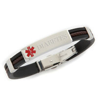 Unisex Rubber Stainless Twist Medical ID Bracelet -DIABETES TYPE 2