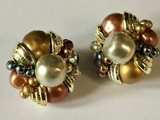 Vintage 80s Faux Pearl - Gold, Bronze & Pewter TONE Chunky Clip-On Earrings