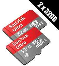 2 x SanDisk Ultra 32 GB microSD SDHC Memory Cards UHS-I Class 10 80 MB/s read +