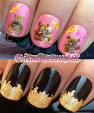 NAIL ART SET #170 VINTAGE TEDDY BEARS WATER TRANSFERS/DECAL/STICKERS & GOLD LEAF