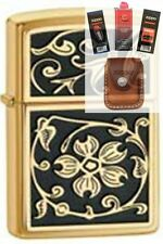 Zippo 20903 gold floural flush Lighter + FUEL FLINT WICK POUCH GIFT SET