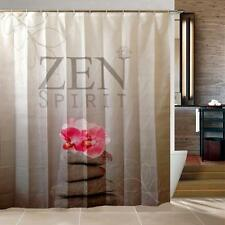 Zen Spirit Pink Orchid Pebbles Bathroom Shower Curtain Polyester Hooks