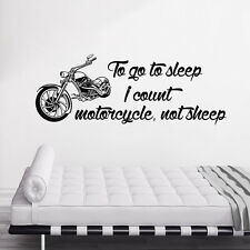 To Go To Sleep I Count Decal Motorcycle Wall Sticker Bedroom Nursery Decor DR100