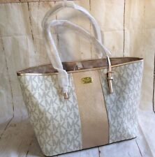 NWT MICHAEL KORS METALLIC CENTER STRIPE CARRYALL TOTE VANILLA/PALE GOLD $328