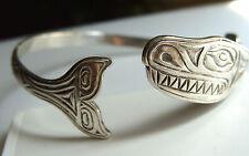 Northwest Coast Sterling Silver Bracelet Killer Whale w Lots of Teeth Cuff LJT
