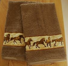 WESTERN SET OF 2 BATH HAND/GUEST  TOWELS,MOCCA,HORSE BORDER,CUSTOM MADE TSR