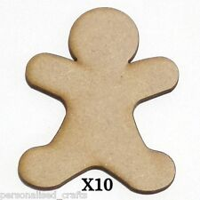 X10 Wooden MDF80mm Christmas Gingerbread-Man  Decorations Embellishments /Cards