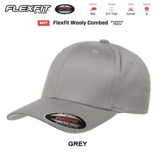 6277 New Flexfit Wooly Combed Twill Fitted Baseball Cap Black Hat Blank Flex Fit
