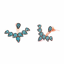 925 Sterling Silver Nano Turquoise Stones Pave Women Ear Cuff Jacket Earrings