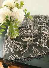 """Heritage Lace DUCHESS 18""""x54"""" Table Runner - Black, Pewter Gray with Bead Trim"""