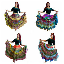 2 MIXED Tribal Gypsy Belly Dance Sari Peasant Boho Skirt Skirts Banjara Folk