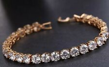 18k Gold GF Tennis Bracelet made w/ Swarovski Crystal Clear Stone Bridal Prom