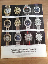 1971 Accutron Bulova Caravelle Date & Day Watches for Men Ad  Shows 12 Watches