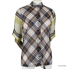 Dries Van Noten Navy Red Yellow Tartan Fine Cotton Semi-Sheer Shirt FR40 UK12