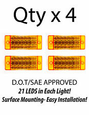 4 - Amber 21 LED Side Marker Clearance Light  Rectangle 12V Truck Trailer Camper